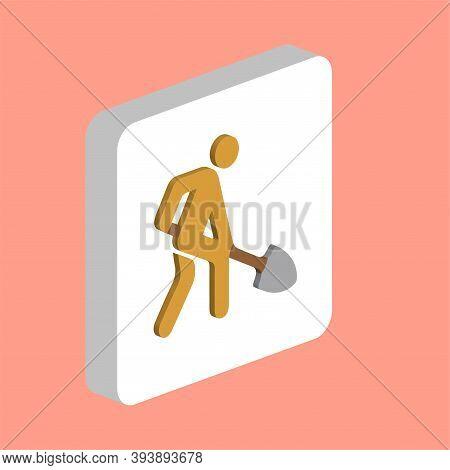 Digging Man Simple Vector Icon. Illustration Symbol Design Template For Web Mobile Ui Element. Perfe