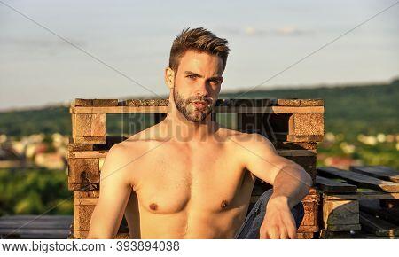 Summer Season. Fitness Model. Sexy Pensive Man Relaxing Outdoors. Muscular Body. Muscular Chest. Mus