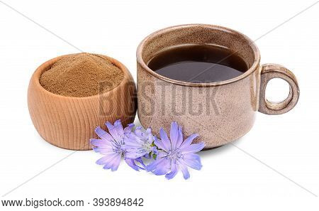 Crushed Chicory In Wooden Bowl, Cichorium Flowers And Cup Of Drink With Chicory Isolated On White Ba