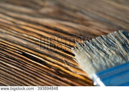 Brush And Stain On Wood Board. Wood Texture And Paintbrush. Housework Background. Selective Focus