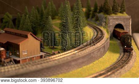 Train Model In A Countryside. Rural Setting Railway Village.