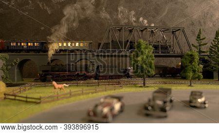 Toy Lokomotive On The Bridge. Retro Vintage Railway Station.