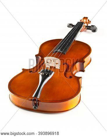 Brown Wooden Fiddle Or Violin, Classic Musical Instrument, Over White Background, Selective Focus