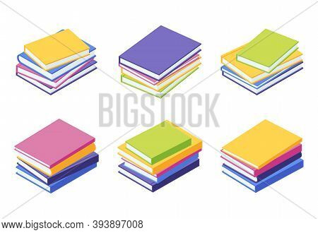 Book Pile Isometric - Vector Illustration Set Of Stacks Of Lying Colorful Paper Textbooks With Hard