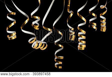 Serpentine On A Black Isolated Background. New Year's Serpentine In Gold Color. Festive Tinsel. Chri