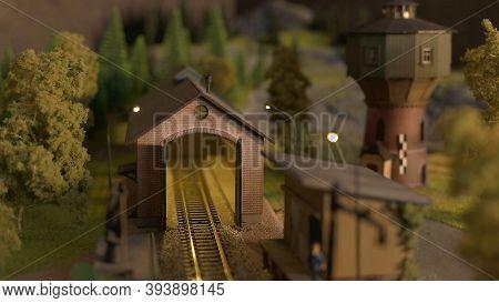 Miniature Railway Tunnel. Retro Railway And Countryside Model.