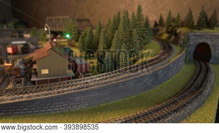 Replica Model Of Railway. Tunnel And Railroad.