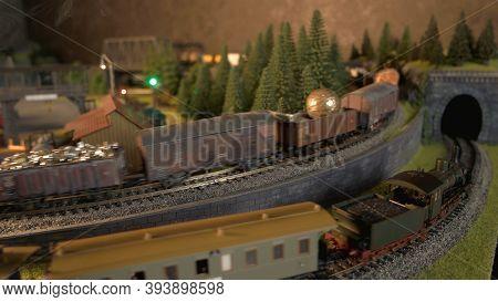 Cargo Train Replica Model. Toy Railway Station.