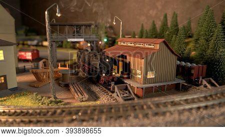 Retro Lokomotive Train In A Depot. Replica Model Of Lokomotive.