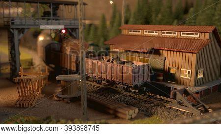 Miniature Retro Cargo Train. Replica Of Railway Model.