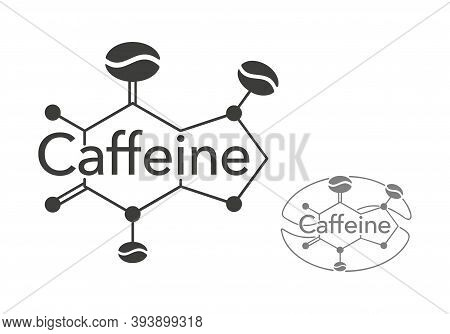 Caffeine Stylized Scheme - Molecular Cell Structure With Coffee Beans Inside - Isolated Vector Emble