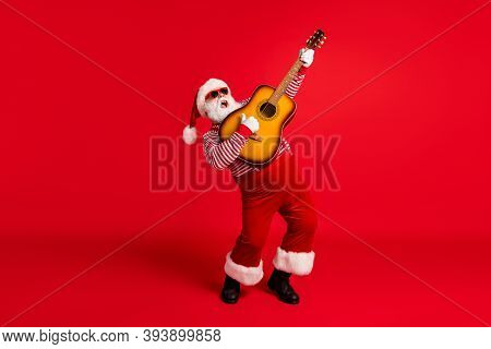Full Length Body Size View Of His He Handsome Bearded Fat Overweight Santa Grandfather Soloist Playi