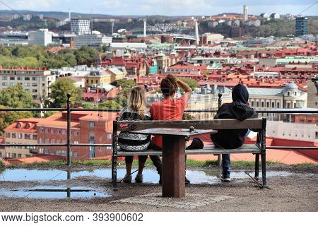 Gothenburg, Sweden - August 26, 2018: Tourists Visit City Viewpoint In Gothenburg, Sweden. Gothenbur