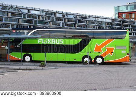 Gothenburg, Sweden - August 26, 2018: Long Distance Bus Line Of Flixbus In Gothenburg, Sweden. Flixb