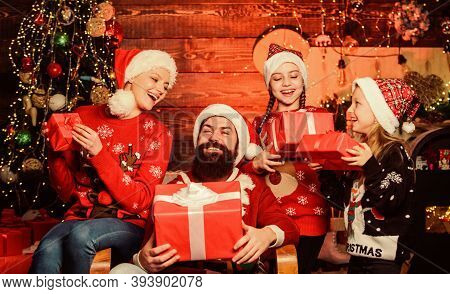 Boxing Day. Happy Holidays. Spend Time With Your Family. Christmas Tradition. Father Bearded Man And