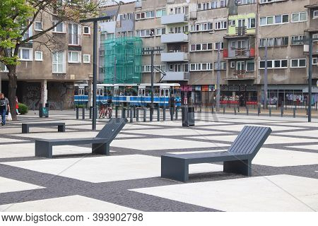 Wroclaw, Poland - May 11, 2018: Nowy Targ Square In Wroclaw, Poland. The Square Has Been Refurbished