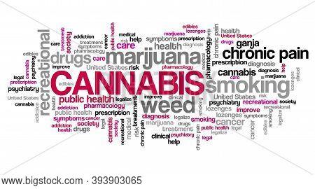Cannabis Word Cloud Collage. Marijuana Smoking Recreational Drug Concepts Text Sign.