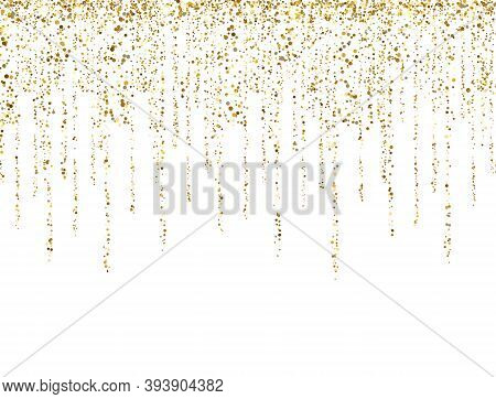 Gold Glitter Lines On White Background. Glitter Decoration Frame. Golden Sparkling Confetti. Luxury