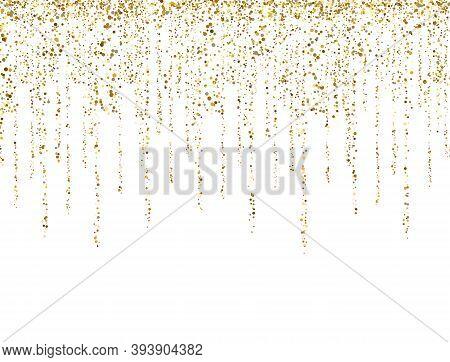 Gold Glitter Lines On White Background. Glitter Decoration Frame. Golden Sparkling Confetti. Luxury