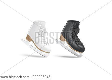 Blank Black And White Ice Skates Mockup Tiptoe, Half-turned View, 3d Rendering. Empty Winter Shoelac