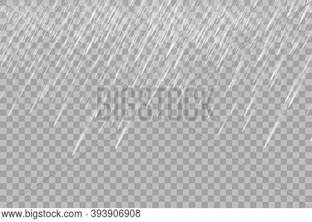Rain Transparent Template Background. Falling Water Drops Texture. Nature Rainfall On Checkered Back