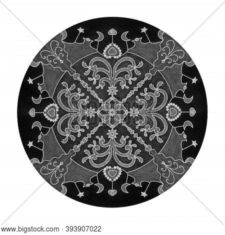 Colored Pencil Effects. Christmas Mandala Illustration Black, White And Grey. Fancy Christmas Tree A