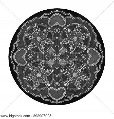 Colored Pencil Effects. Christmas Theme. Mandala Illustration Black, White And Grey. Christmas Ball