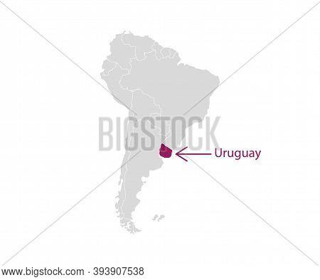 Uruguay On South America Map Vector. Vector Illustration.