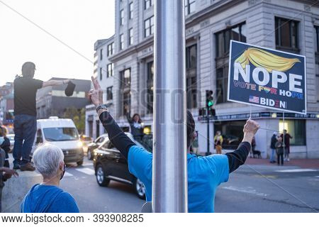 Mainers Celebrate Joe Bidens Victory Of The 2020 United States Presidential Election In Downtown Por