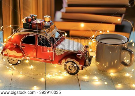 Christmas And New Year Festive Background.winter Books.winter Cozy Reading.a Stack Of Books, A Shini