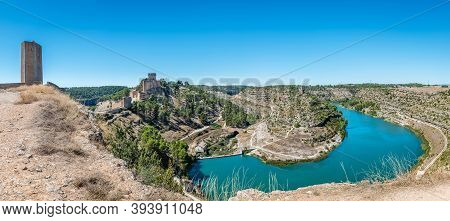 Panorama View Of The Famous Fortified Medieval Town Of Alarcon In Cuenca, Castilla-la Mancha, Surrou