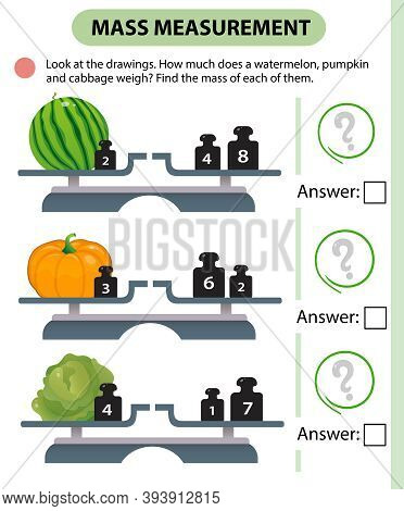 Math Game, Education Game For Children. Mass Measurement. Scales. How Much Does A Watermelon, Pumpki