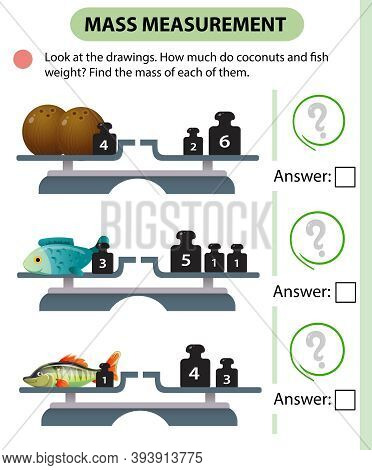 Math Game, Education Game For Children. Mass Measurement. Scales. How Much Do Coconuts And Fish Weig