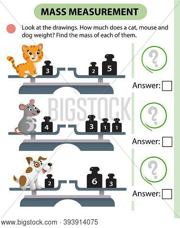 Math Game, Education Game For Children. Mass Measurement. Scales. How Much Does A Cat, Mouse And Dog