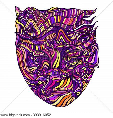 Multicolor Bizarre Surreal Psychedelic Anthropomorphic Face With Many Patterns, Isolated On White Ba