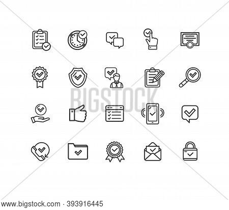 Approve Sign Thin Line Icon Set Include Of Shield And Award. Vector Illustration Of Agree Icons