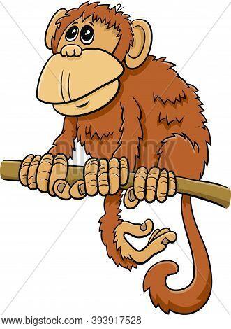 Cartoon Illustration Of Comic Monkey Primate Animal Character On Branch