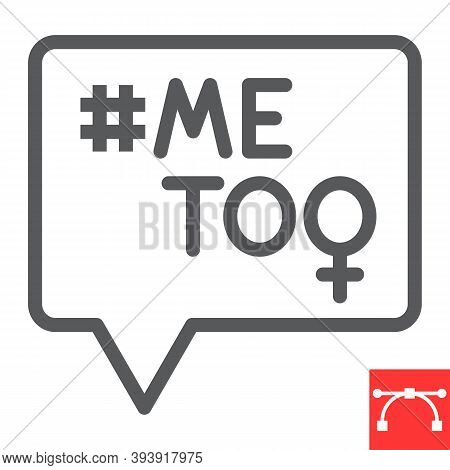 Me Too Line Icon, Sexism And Feminism, Me Too Sign Vector Graphics, Editable Stroke Linear Icon, Eps