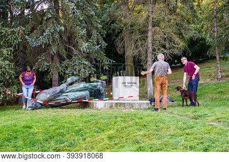 Prague, Czech Republic - September 19, 2020. Falled Down Statue Of Jan Neruda After Vandalism