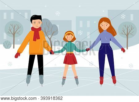 Family Together On The Skating Rink In The Park. Mother, Father And Daughter Ice Skating. Winter Fun