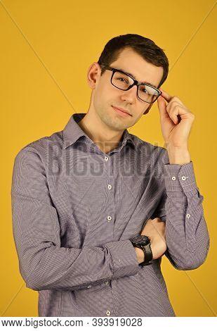Prescription Glasses. Eyewear. Choose Eyeglasses In Casual Style. Smart Boy. Bad Eyesight. Cool Guy