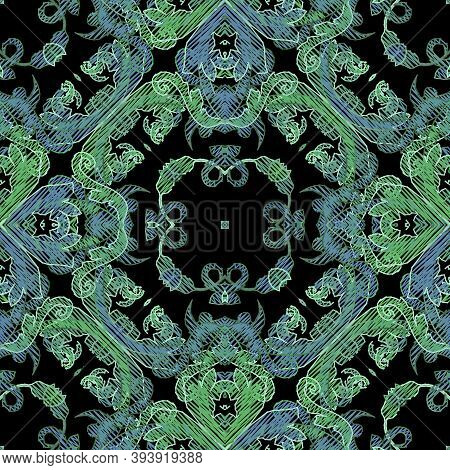 Embroidery Baroque Vector Seamless Pattern. Colorful Floral Grunge Background. Tapestry Wallpaper. L