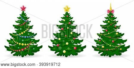 Christmas Tree. Set Of Christmas Trees With Decorations. Green Pine Or Fir With Balls, Garlands And