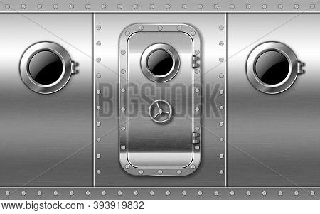 Metal Door On Wall With Portholes And Rivets, Submarine Or Bunker Close Entrance. Ship Or Secret Lab