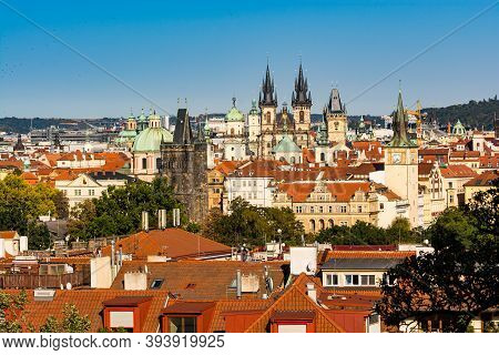 Prague, Czech Republic - September 19, 2020. The City Of A Hundred Spires - Old Town Panorama View