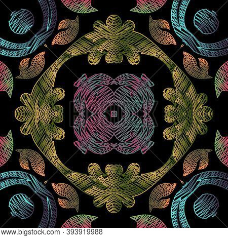 Embroidery Floral Vector Seamless Pattern. Textured Grunge Mandalas Background. Tapestry Wallpaper.