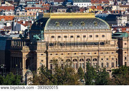 Prague, Czech Republic - September 19, 2020. Building Of National Theatre