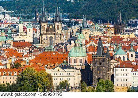 Prague, Czech Republic - September 19, 2020. Panorama With Many Towers - Charles Bridge, Tyn, Powder