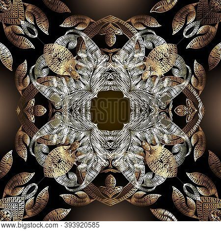 Embroidery Baroque Vector Seamless Pattern. Gold Floral Grunge Mandalas Background. Tapestry Wallpap