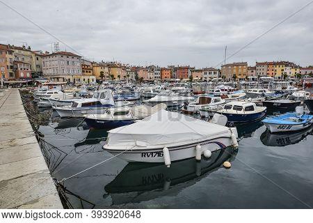 Rovinj, Croatia - May 21, 2018: Beautiful View On Yachts, Fishing Boats, Adriatic Sea And Town Of Ro